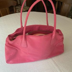 Cole Haan hot pink Clair croc print leather purse